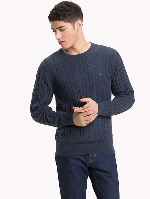 TOMMY HILFIGER Cable-Knit Crew Neck Jumper - OMBRE BLUE HEATHER - TOMMY HILFIGER NEW IN - main image