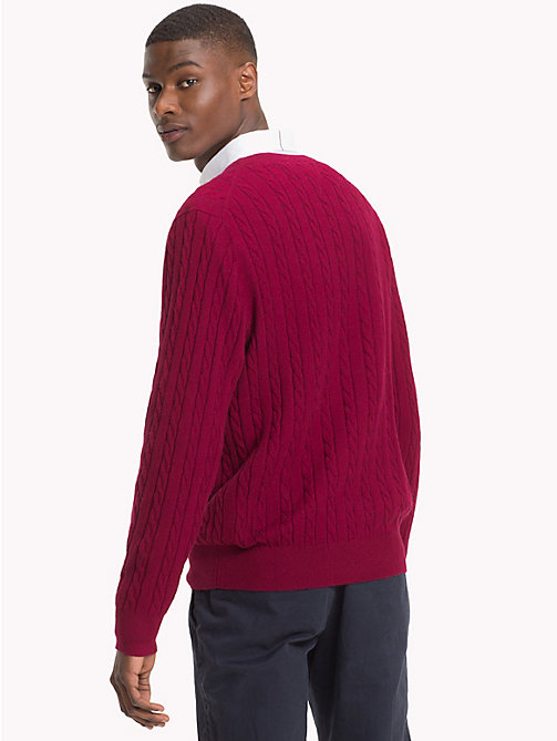 TOMMY HILFIGER Cable-Knit Crew Neck Jumper - RHUBARB HEATHER - TOMMY HILFIGER Sweatshirts & Knitwear - detail image 1