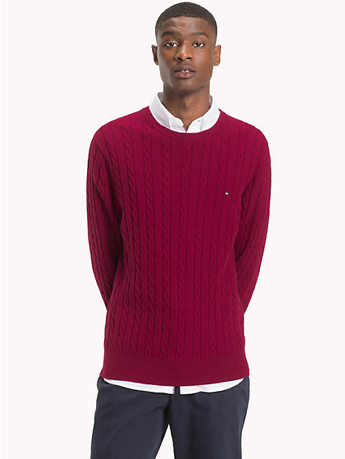 TOMMY HILFIGER Cable-Knit Crew Neck Jumper - RHUBARB HEATHER - TOMMY HILFIGER Sweatshirts & Knitwear - main image