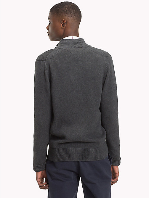 TOMMY HILFIGER Chunky Knit Zip-Thru Jumper - CHARCOAL HTR - TOMMY HILFIGER Clothing - detail image 1