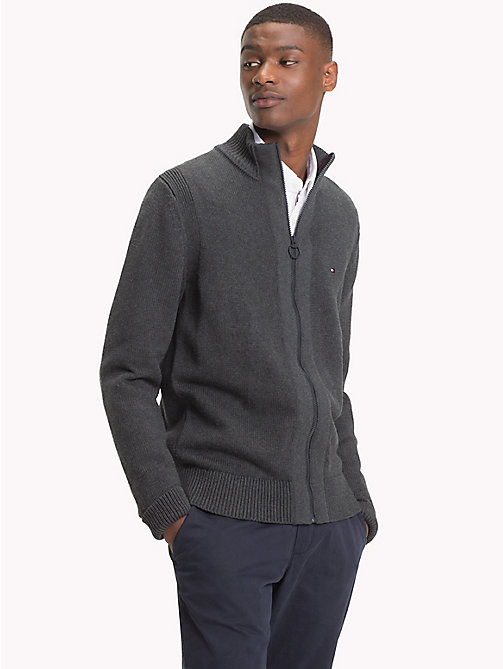 TOMMY HILFIGER Chunky Knit Zip-Thru Jumper - CHARCOAL HTR - TOMMY HILFIGER Clothing - main image