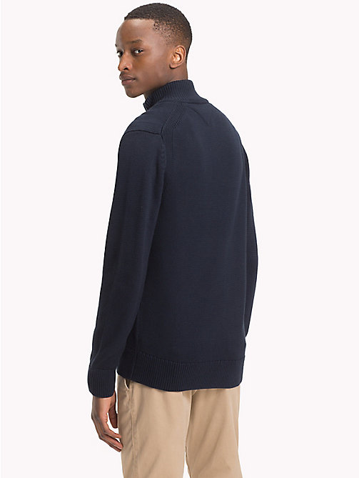 TOMMY HILFIGER Chunky Knit Zip-Thru Jumper - 413-SKY CAPTAIN - TOMMY HILFIGER Clothing - detail image 1