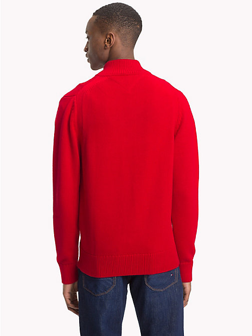 TOMMY HILFIGER Chunky Knit Zip-Thru Jumper - HAUTE RED - TOMMY HILFIGER Clothing - detail image 1