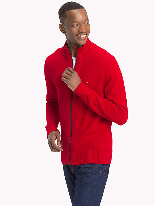 TOMMY HILFIGER Chunky Knit Zip-Thru Jumper - HAUTE RED - TOMMY HILFIGER Clothing - main image