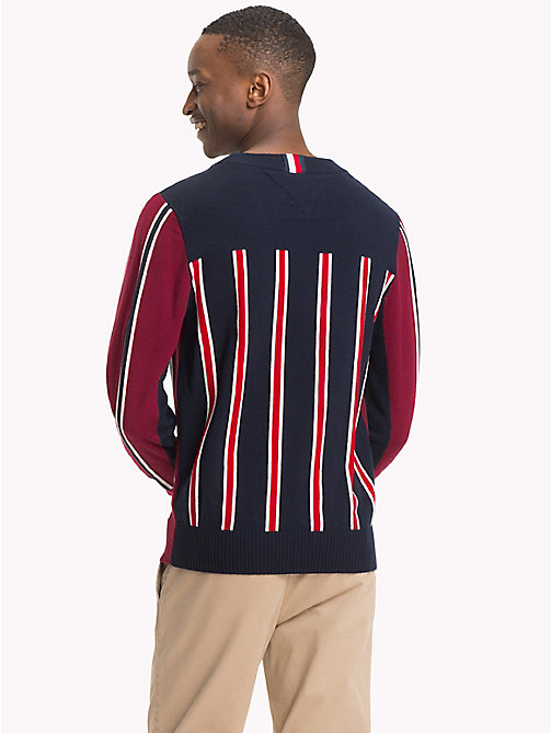 TOMMY HILFIGER Signature colour-blocked trui - RHUBARB - TOMMY HILFIGER NIEUW - detail image 1