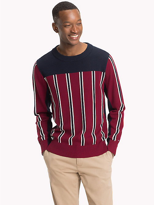 TOMMY HILFIGER Signature Colour-Blocked Jumper - RHUBARB - TOMMY HILFIGER NEW IN - main image
