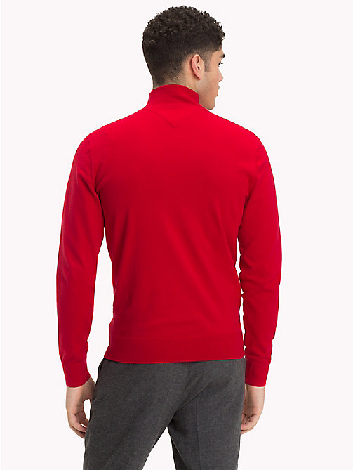 TOMMY HILFIGER Zipped Mock Neck Jumper - HAUTE RED - TOMMY HILFIGER NEW IN - detail image 1