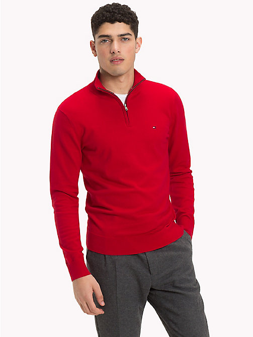 TOMMY HILFIGER Zipped Mock Neck Jumper - HAUTE RED - TOMMY HILFIGER NEW IN - main image