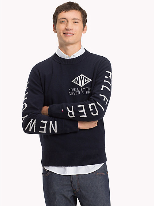 TOMMY HILFIGER Intarsia Logo Relaxed Fit Jumper - 413-SKY CAPTAIN - TOMMY HILFIGER NEW IN - main image