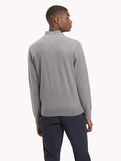 TOMMY HILFIGER Zipped Mock Neck Jumper - SILVER FOG HTR - TOMMY HILFIGER Clothing - detail image 1