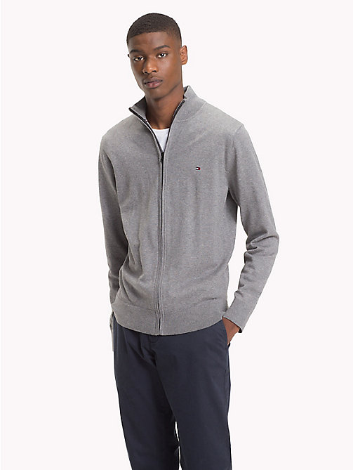 TOMMY HILFIGER Zipped Mock Neck Jumper - SILVER FOG HTR - TOMMY HILFIGER Clothing - main image