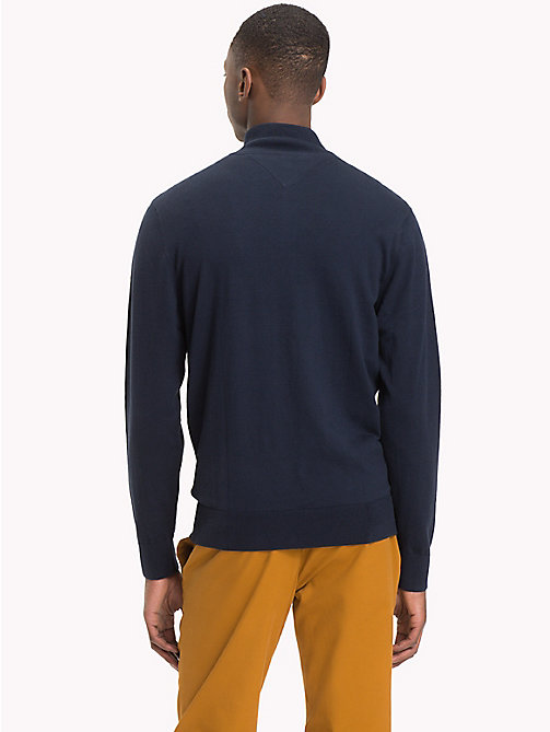 TOMMY HILFIGER Zipped Mock Neck Jumper - 413-SKY CAPTAIN - TOMMY HILFIGER Clothing - detail image 1