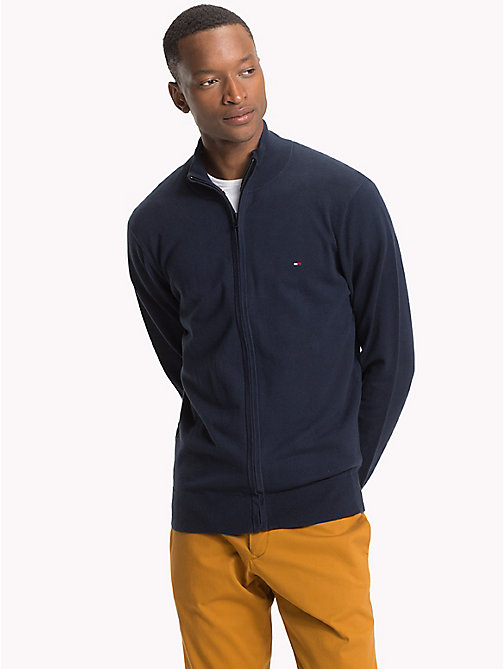TOMMY HILFIGER Zipped Mock Neck Jumper - 413-SKY CAPTAIN - TOMMY HILFIGER Cardigans - main image