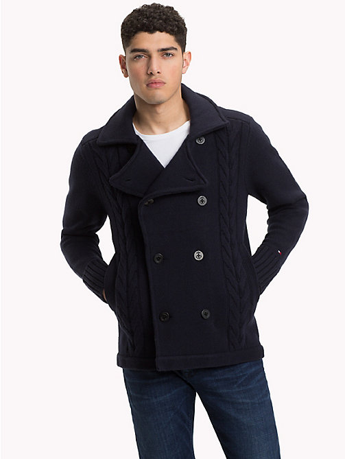 TOMMY HILFIGER Relaxed Fit Cable-Knit Peacoat - 413-SKY CAPTAIN - TOMMY HILFIGER Clothing - main image