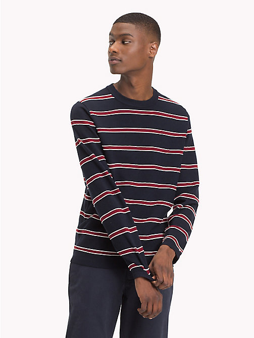 TOMMY HILFIGER Stripe Cotton Silk Jumper - 413-SKY CAPTAIN - TOMMY HILFIGER NEW IN - main image