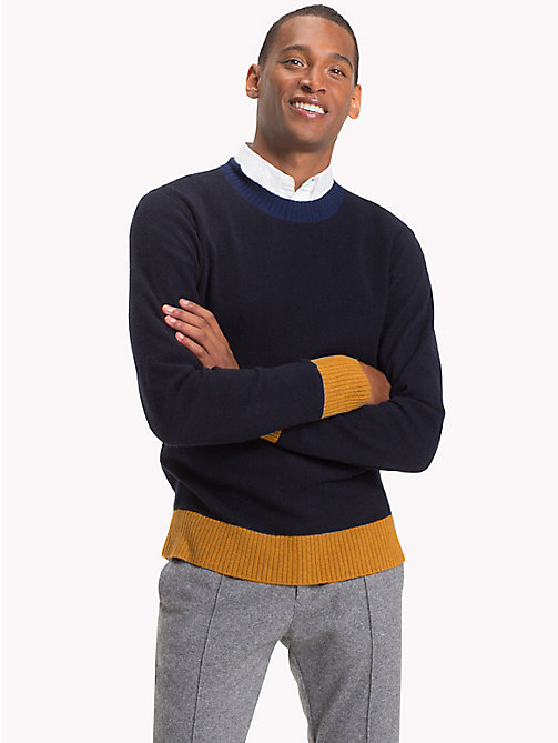 TOMMY HILFIGER Colour Tipped Wool Jumper - SKY CAPTAIN HEATHER - TOMMY HILFIGER Winter Warmers - main image