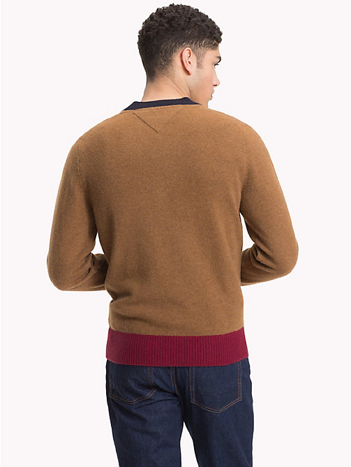 TOMMY HILFIGER Colour Tipped Wool Jumper - SEPIA HEATHER - TOMMY HILFIGER Winter Warmers - detail image 1