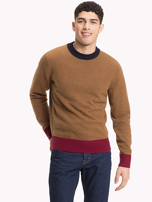 TOMMY HILFIGER Colour Tipped Wool Jumper - SEPIA HEATHER - TOMMY HILFIGER Winter Warmers - main image