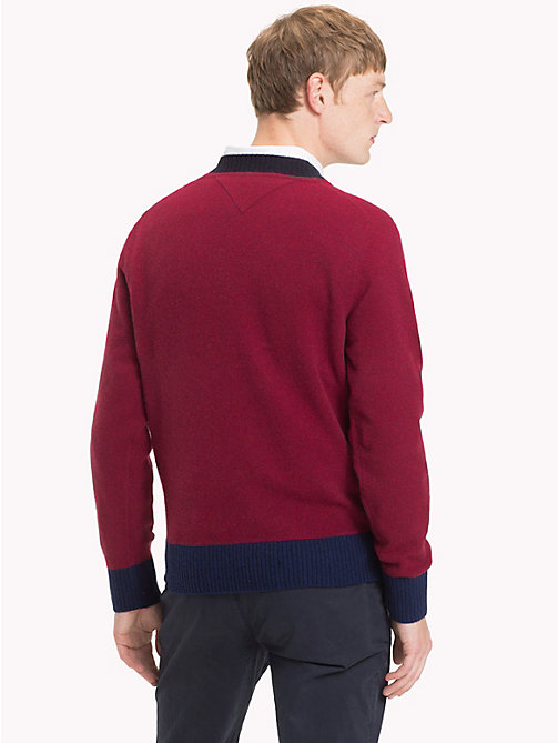 TOMMY HILFIGER Colour Tipped Wool Jumper - RHUBARB HEATHER - TOMMY HILFIGER Winter Warmers - detail image 1