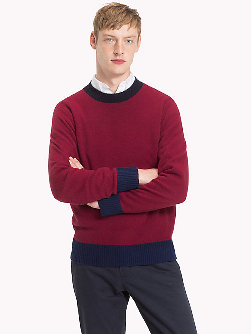 TOMMY HILFIGER Colour Tipped Wool Jumper - RHUBARB HEATHER - TOMMY HILFIGER Winter Warmers - main image