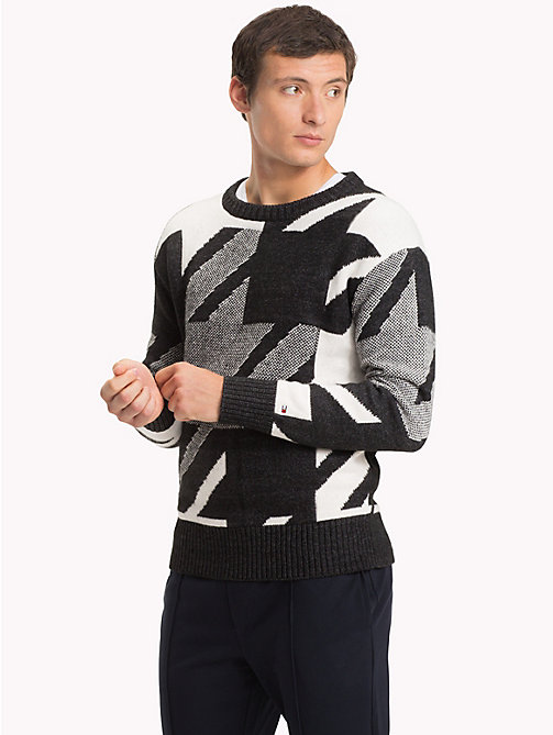 TOMMY HILFIGER Oversized Houndstooth Jumper - CHARCOAL HTR - TOMMY HILFIGER NEW IN - main image