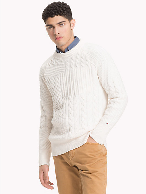 TOMMY HILFIGER Cable Knit Oversized Jumper - SNOW WHITE - TOMMY HILFIGER Sweatshirts & Knitwear - main image
