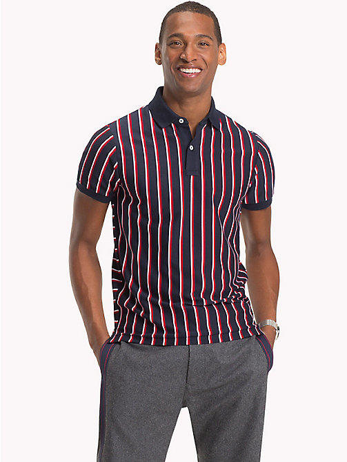 TOMMY HILFIGER Stripe Slim Fit Polo Shirt - SKY CAPTAIN / MULTI - TOMMY HILFIGER Polo Shirts - main image