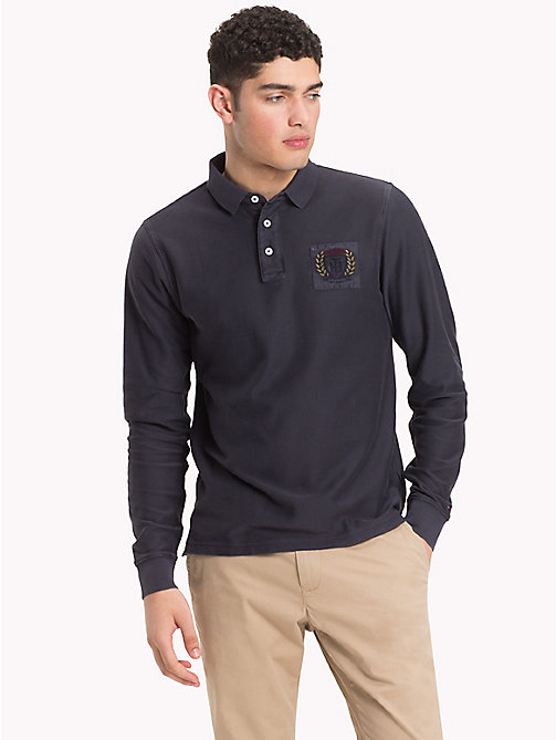 TOMMY HILFIGER Long Sleeve Crest Polo Shirt - SKY CAPTAIN - TOMMY HILFIGER Polo Shirts - main image
