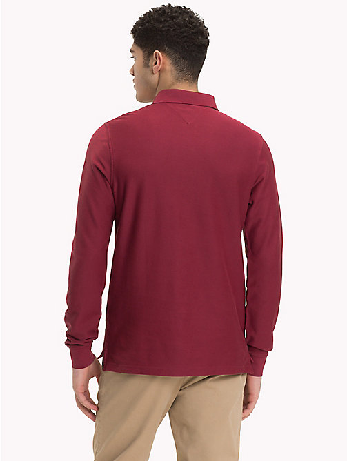TOMMY HILFIGER Long Sleeve Crest Polo Shirt - RHUBARB - TOMMY HILFIGER Polo Shirts - detail image 1