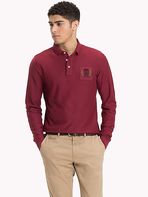 TOMMY HILFIGER Long Sleeve Crest Polo Shirt - RHUBARB - TOMMY HILFIGER Polo Shirts - main image