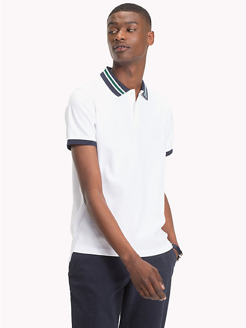 TOMMY HILFIGER Statement Collar Slim Fit Polo Shirt - BRIGHT WHITE - TOMMY HILFIGER Clothing - main image