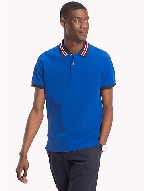 TOMMY HILFIGER Statement Collar Slim Fit Polo Shirt - BLUE LOLITE - TOMMY HILFIGER Clothing - main image