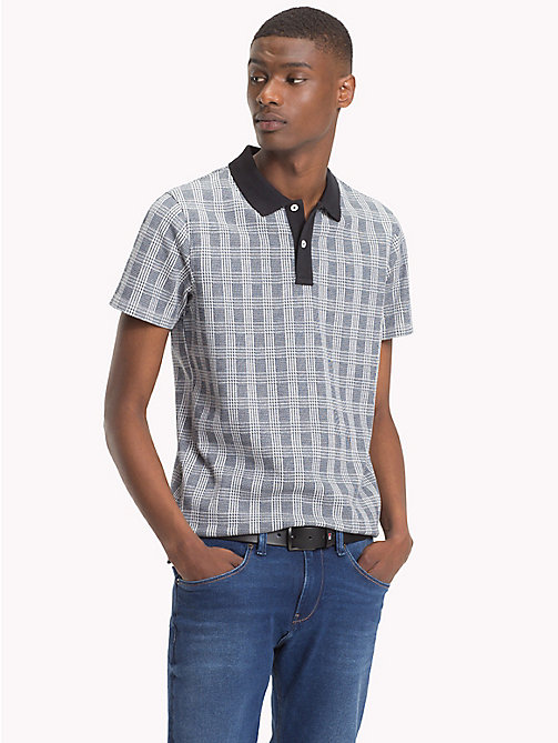TOMMY HILFIGER Check Print Cotton Polo - JET BLACK - TOMMY HILFIGER NEW IN - main image