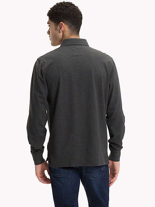 TOMMY HILFIGER Long Sleeve Polo Shirt - CHARCOAL HTR - TOMMY HILFIGER Clothing - detail image 1