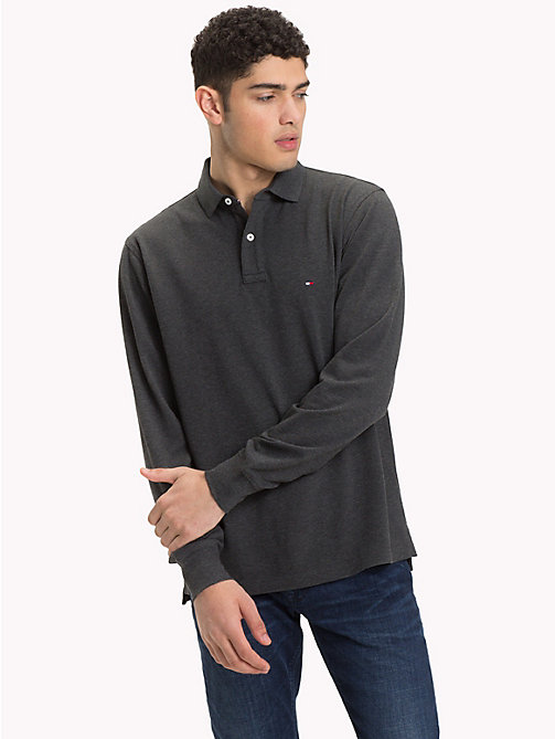 TOMMY HILFIGER Long Sleeve Polo Shirt - CHARCOAL HTR - TOMMY HILFIGER Clothing - main image