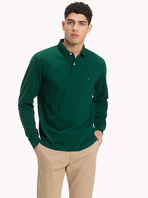 TOMMY HILFIGER Long Sleeve Polo Shirt - RAIN FOREST - TOMMY HILFIGER Polo Shirts - main image