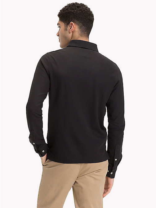 TOMMY HILFIGER Long Sleeve Slim Fit Polo Shirt - JET BLACK - TOMMY HILFIGER Clothing - detail image 1