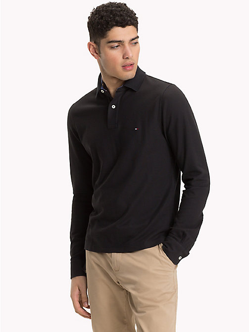TOMMY HILFIGER Long Sleeve Slim Fit Polo Shirt - JET BLACK - TOMMY HILFIGER Clothing - main image