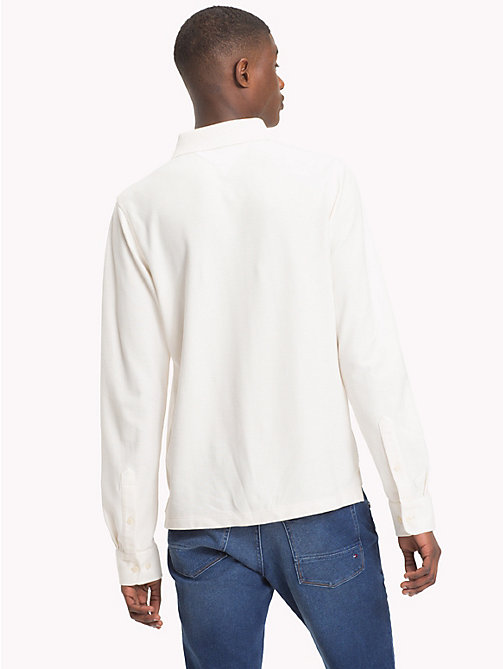 TOMMY HILFIGER Long Sleeve Slim Fit Polo Shirt - WHISPER WHITE - TOMMY HILFIGER Polo Shirts - detail image 1