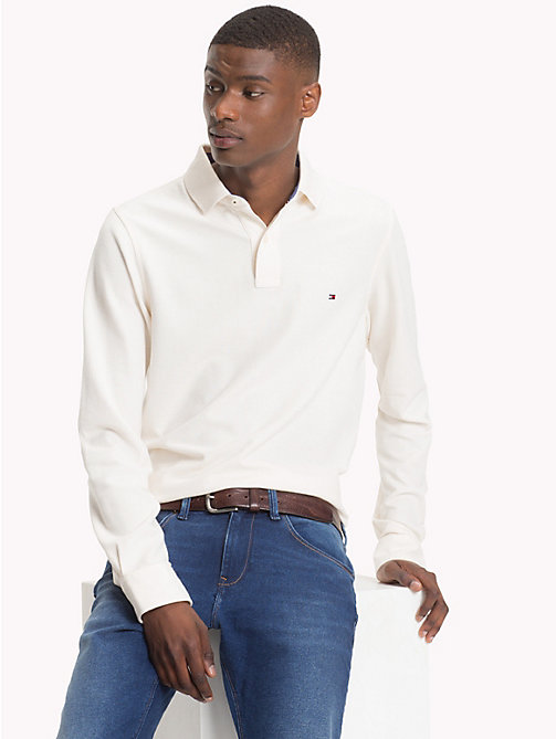 TOMMY HILFIGER Long Sleeve Slim Fit Polo Shirt - WHISPER WHITE - TOMMY HILFIGER Polo Shirts - main image