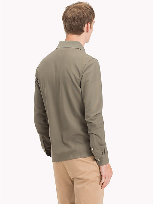 TOMMY HILFIGER Long Sleeve Slim Fit Polo Shirt - DUSTY OLIVE - TOMMY HILFIGER Polo Shirts - detail image 1