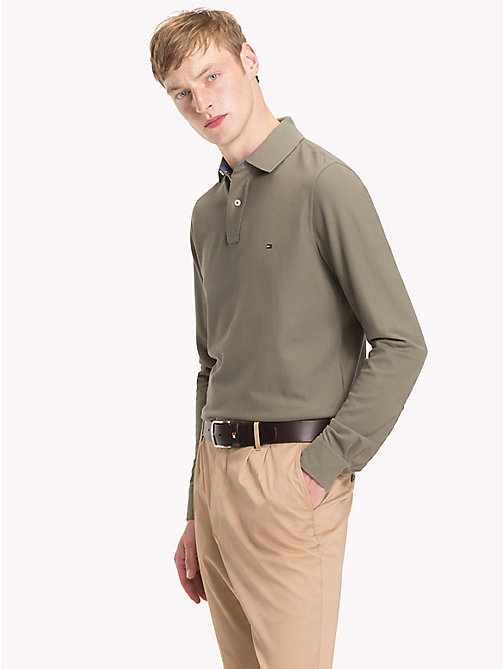 TOMMY HILFIGER Long Sleeve Slim Fit Polo Shirt - DUSTY OLIVE - TOMMY HILFIGER Polo Shirts - main image