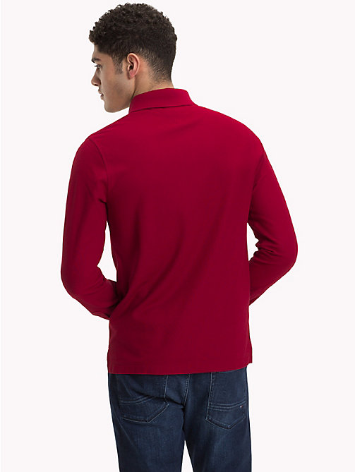 TOMMY HILFIGER Long Sleeve Slim Fit Polo Shirt - RHUBARB - TOMMY HILFIGER NEW IN - detail image 1