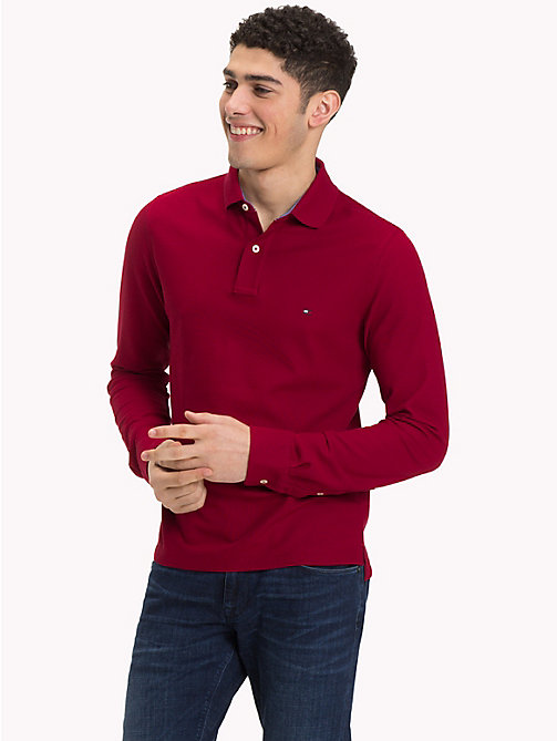 TOMMY HILFIGER Long Sleeve Slim Fit Polo Shirt - RHUBARB - TOMMY HILFIGER NEW IN - main image