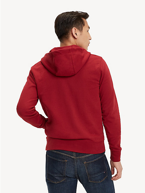 TOMMY HILFIGER Signature Tape Zip Hoody - RHUBARB - TOMMY HILFIGER Clothing - detail image 1