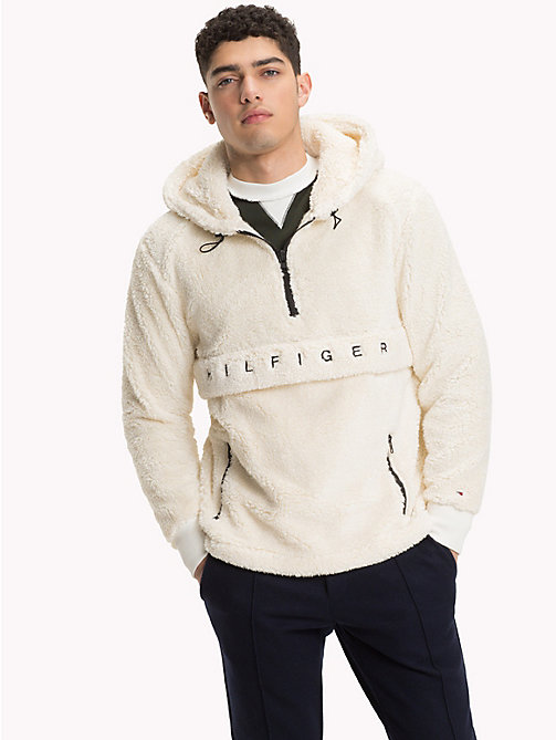 TOMMY HILFIGER Logo Teddy Hoody - WHISPER WHITE - TOMMY HILFIGER Clothing - main image