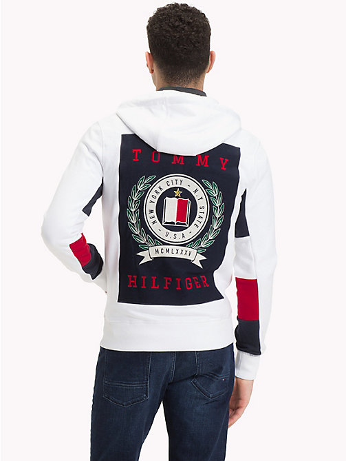 TOMMY HILFIGER Crest Back Zip Hoody - BRIGHT WHITE - TOMMY HILFIGER Clothing - detail image 1