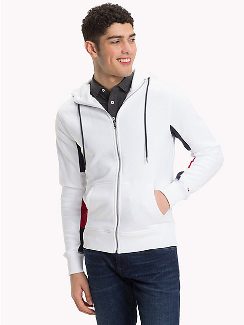 TOMMY HILFIGER Crest Back Zip Hoody - BRIGHT WHITE - TOMMY HILFIGER Clothing - main image