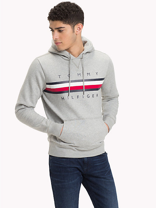 TOMMY HILFIGER Signature Tape Logo Hoody - CLOUD HTR -  Clothing - main image