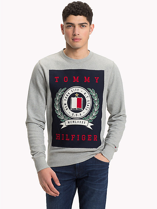 TOMMY HILFIGER Crest Sweatshirt - CLOUD HTR - TOMMY HILFIGER NEW IN - main image